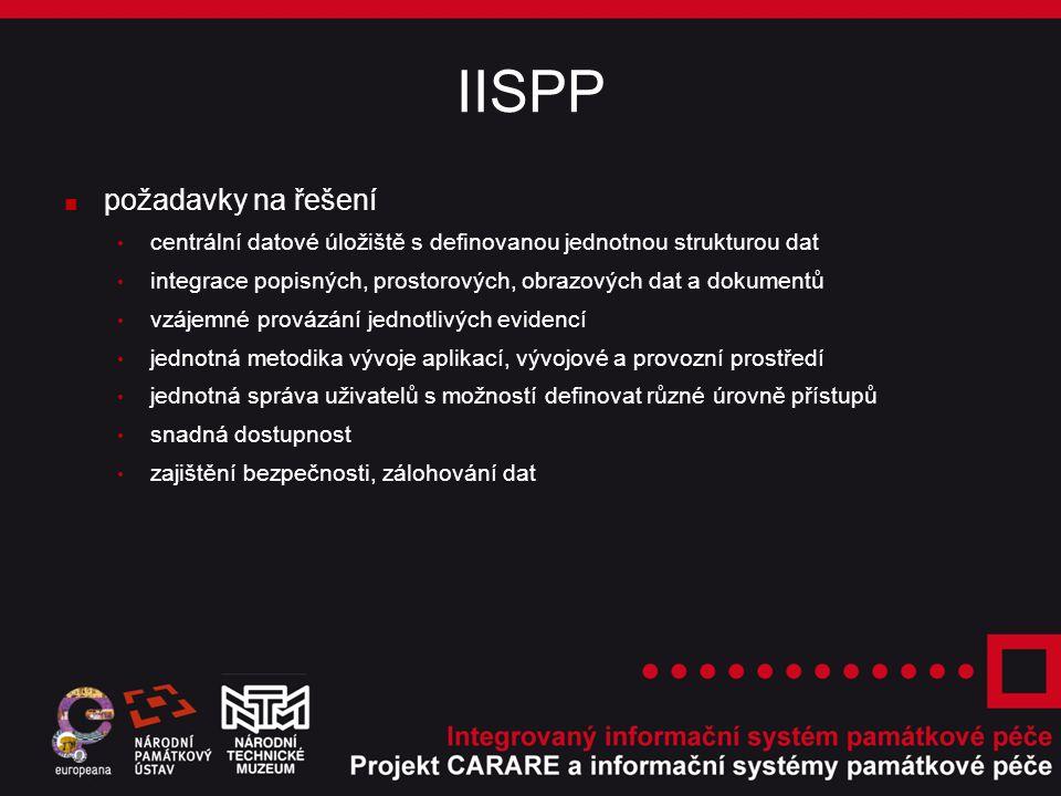 IISPP ■ požadavky na řešení centrální datové úložiště s definovanou jednotnou strukturou dat integrace popisných, prostorových, obrazových dat a dokumentů vzájemné provázání jednotlivých evidencí jednotná metodika vývoje aplikací, vývojové a provozní prostředí jednotná správa uživatelů s možností definovat různé úrovně přístupů snadná dostupnost zajištění bezpečnosti, zálohování dat