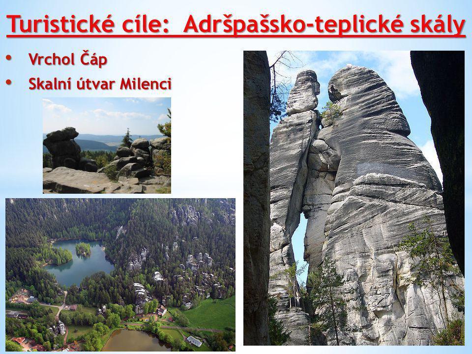 Turistické cíle: Adršpašsko-teplické skály Vrchol Čáp Vrchol Čáp Skalní útvar Milenci Skalní útvar Milenci