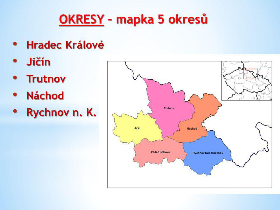 OKRESY – mapka 5 okresů Hradec Králové Hradec Králové Jičín Jičín Trutnov Trutnov Náchod Náchod Rychnov n. K. Rychnov n. K.