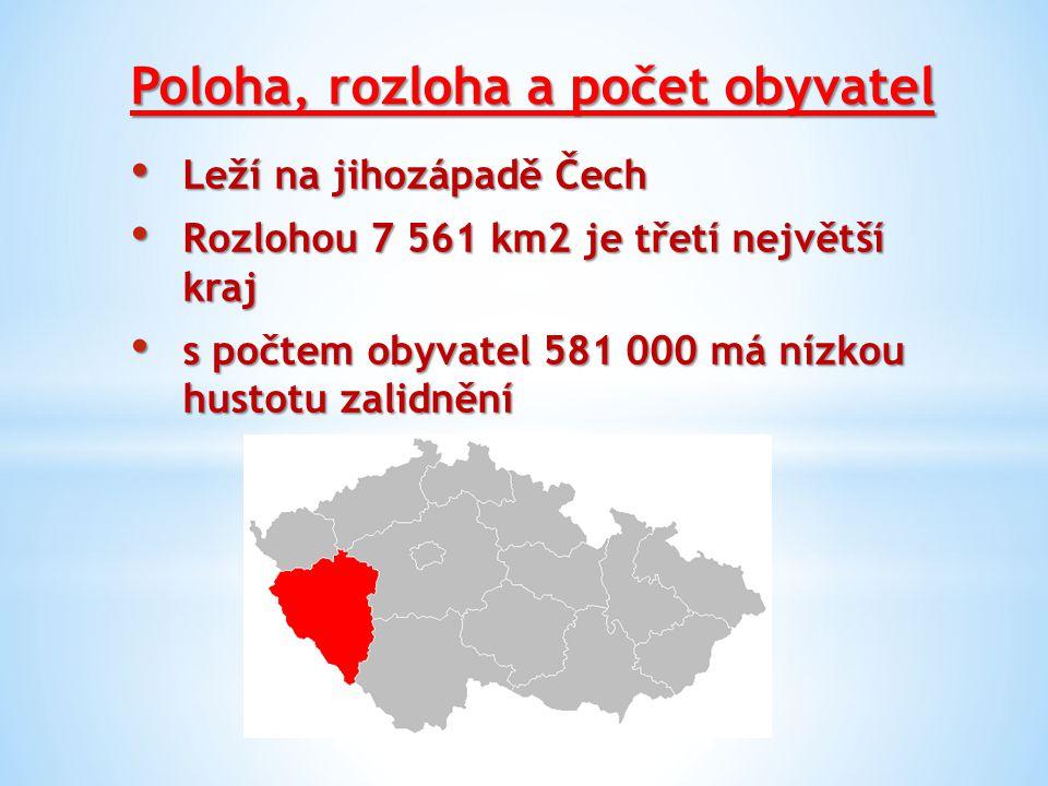 Poloha, rozloha a počet obyvatel Leží na jihozápadě Čech Leží na jihozápadě Čech Rozlohou 7 561 km2 je třetí největší kraj Rozlohou 7 561 km2 je třetí