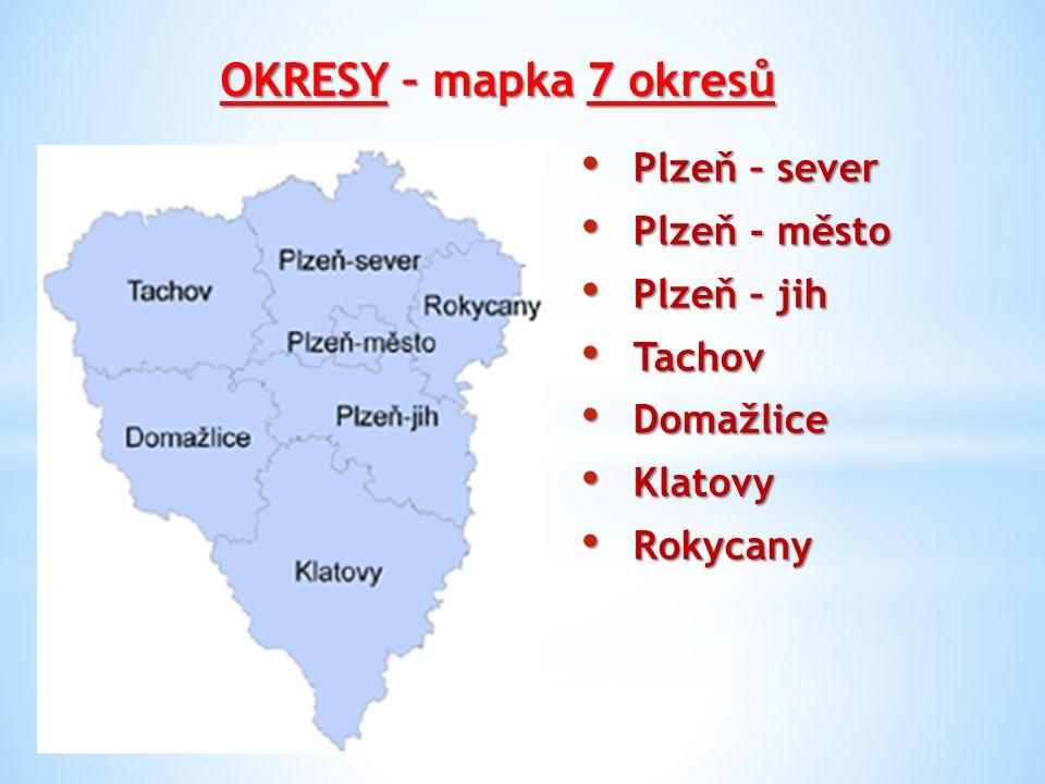 OKRESY – mapka 7 okresů Plzeň – sever Plzeň – sever Plzeň - město Plzeň - město Plzeň – jih Plzeň – jih Tachov Tachov Domažlice Domažlice Klatovy Klat