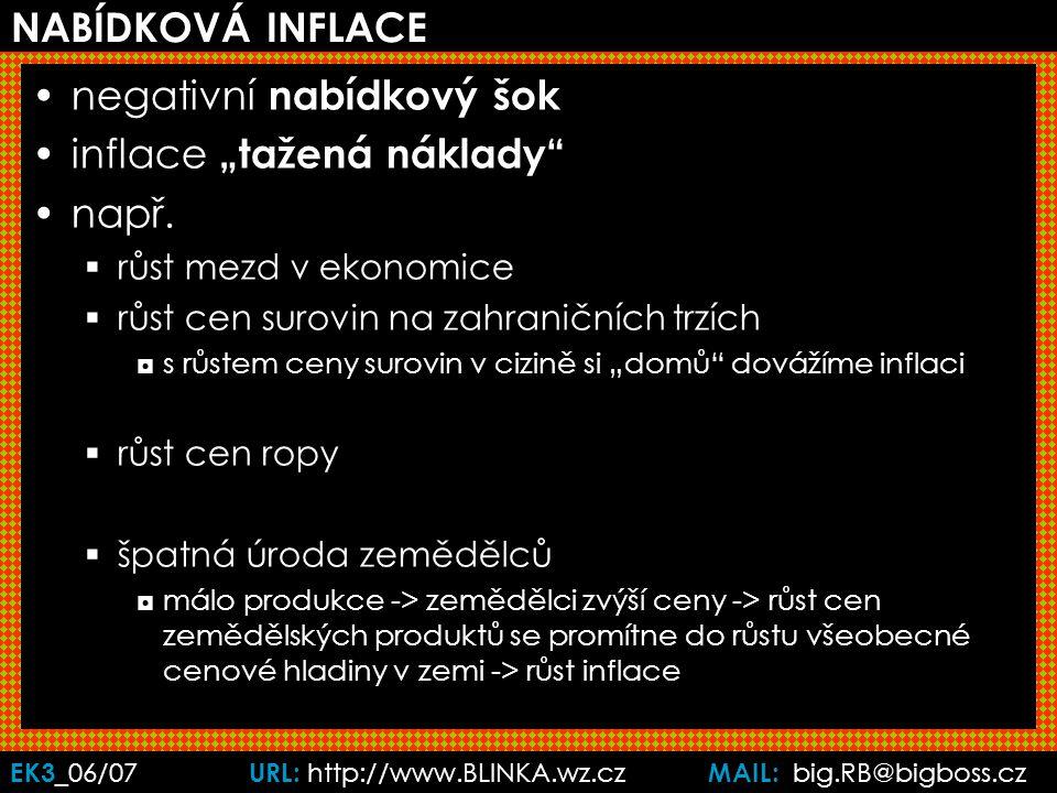 """EK3 _06/07 URL: http://www.BLINKA.wz.cz MAIL: big.RB@bigboss.cz NABÍDKOVÁ INFLACE negativní nabídkový šok inflace """"tažená náklady např."""