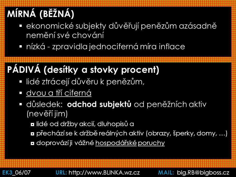 EK3 _06/07 URL: http://www.BLINKA.wz.cz MAIL: big.RB@bigboss.cz MÍRNÁ (BĚŽNÁ)  ekonomické subjekty důvěřují penězům azásadně nemění své chování  nízká - zpravidla jednociferná míra inflace PÁDIVÁ (desítky a stovky procent)  lidé ztrácejí důvěru k penězům,  dvou a tří ciferná  důsledek: odchod subjektů od peněžních aktiv (nevěří jim) ◘lidé od držby akcií, dluhopisů a ◘přechází se k držbě reálných aktiv (obrazy, šperky, domy, …) ◘doprovází ji vážné hospodářské poruchy