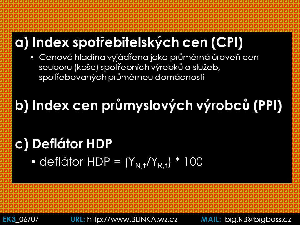 EK3 _06/07 URL: http://www.BLINKA.wz.cz MAIL: big.RB@bigboss.cz a) Index spotřebitelských cen (CPI) Cenová hladina vyjádřena jako průměrná úroveň cen souboru (koše) spotřebních výrobků a služeb, spotřebovaných průměrnou domácností b) Index cen průmyslových výrobců (PPI) c) Deflátor HDP deflátor HDP = (Y N,t /Y R,t ) * 100