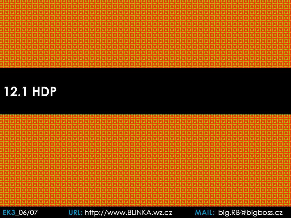 EK3 _06/07 URL: http://www.BLINKA.wz.cz MAIL: big.RB@bigboss.cz ad 3c: HDP – metoda důchodová HDP = sumace důchodů vzniklých při výrobě HDP = HDI (hrubý domácí důchod, I = income) HDP = w + s + r + z + i, kde:  w = mzdy zaměstnanců  s = příjmy z individuálního podnikání a ze samostatné výdělečné činnosti  r = renty z vlastnictví majetku  z = zisky soukromých firem  i = čisté úroky (přijaté úroky – poskytnuté úroky) Dále je třeba:  odečíst odpisy (amortizace) ◘je spotřeba kapitálu při produkci  přičíst daně z výroby a dovozů  odečíst dotace