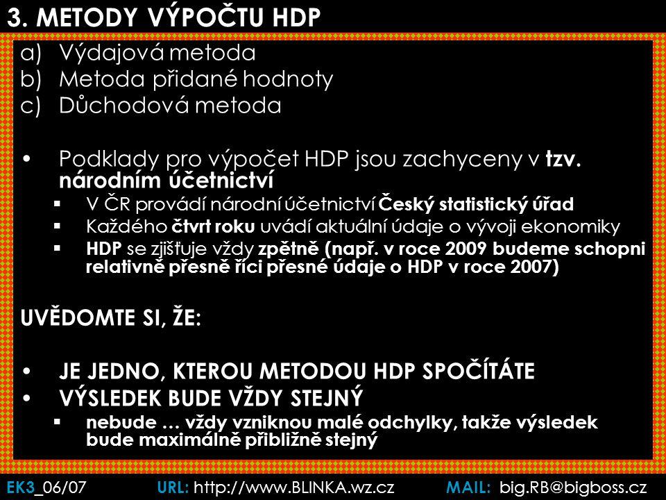 EK3 _06/07 URL: http://www.BLINKA.wz.cz MAIL: big.RB@bigboss.cz P (cena) Může se stát, že vzroste HDP, aniž by ekonomika reálně vyrobila více statků.