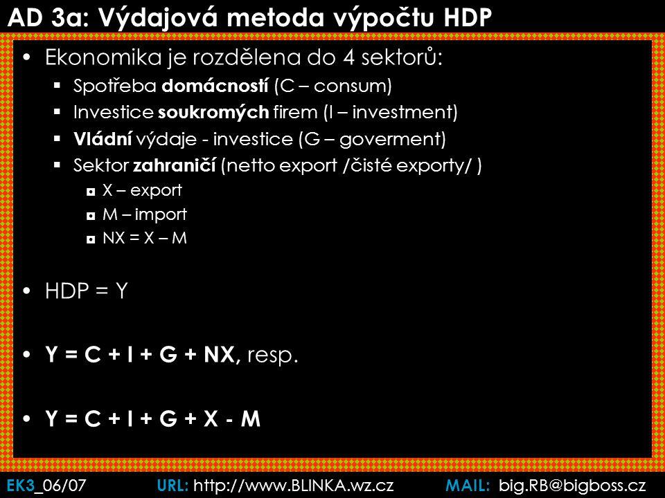 EK3 _06/07 URL: http://www.BLINKA.wz.cz MAIL: big.RB@bigboss.cz Ad 3b: HDP - metoda přidané hodnoty na každém stupni výroby počítáme do HDP pouze hodnoty přidanou zpracováním tzv.