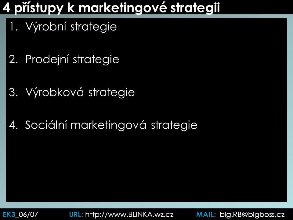 4 přístupy k marketingové strategii 1.Výrobní strategie 2.Prodejní strategie 3.Výrobková strategie 4.Sociální marketingová strategie EK3 _06/07 URL: http://www.BLINKA.wz.cz MAIL: big.RB@bigboss.cz