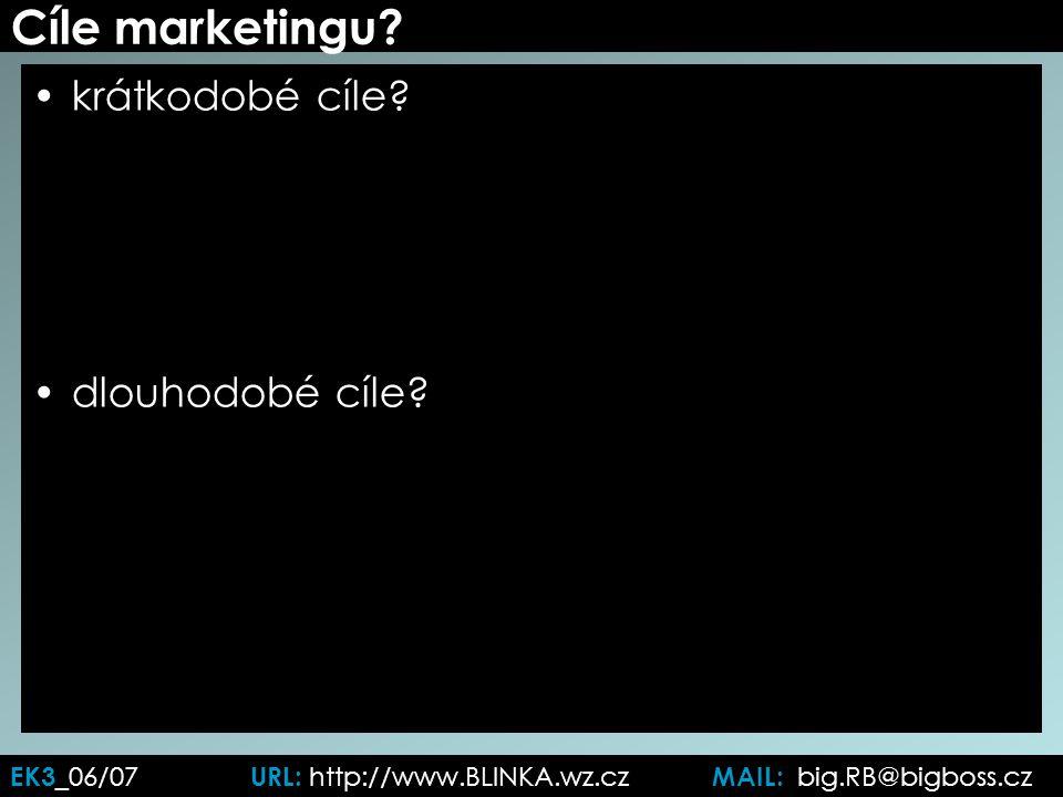 Cíle marketingu. krátkodobé cíle. dlouhodobé cíle.