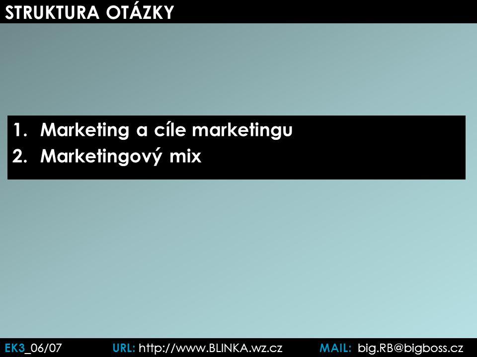 EK3 _06/07 URL: http://www.BLINKA.wz.cz MAIL: big.RB@bigboss.cz STRUKTURA OTÁZKY 1.Marketing a cíle marketingu 2.Marketingový mix