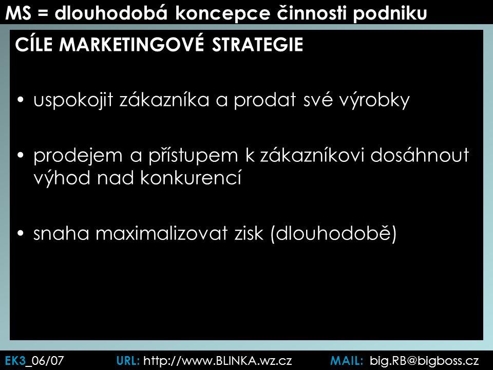 MS = dlouhodobá koncepce činnosti podniku CÍLE MARKETINGOVÉ STRATEGIE uspokojit zákazníka a prodat své výrobky prodejem a přístupem k zákazníkovi dosáhnout výhod nad konkurencí snaha maximalizovat zisk (dlouhodobě) EK3 _06/07 URL: http://www.BLINKA.wz.cz MAIL: big.RB@bigboss.cz