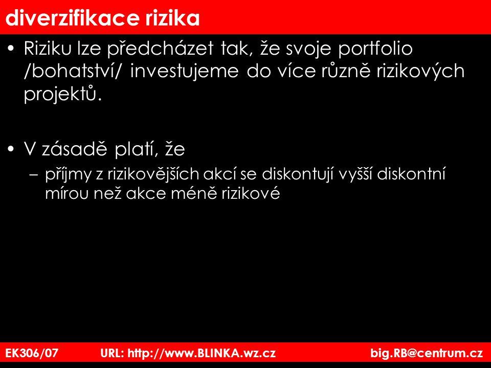 diverzifikace rizika Riziku lze předcházet tak, že svoje portfolio /bohatství/ investujeme do více různě rizikových projektů. V zásadě platí, že –příj