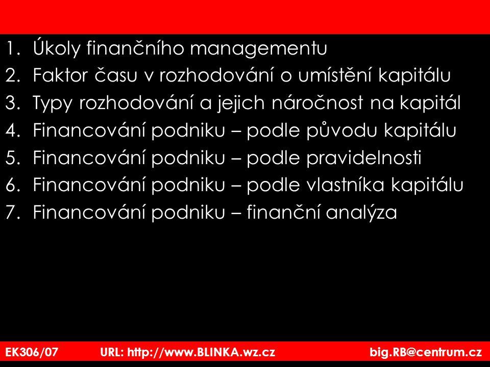 1.Úkoly finančního managementu 2.Faktor času v rozhodování o umístění kapitálu 3.Typy rozhodování a jejich náročnost na kapitál 4.Financování podniku