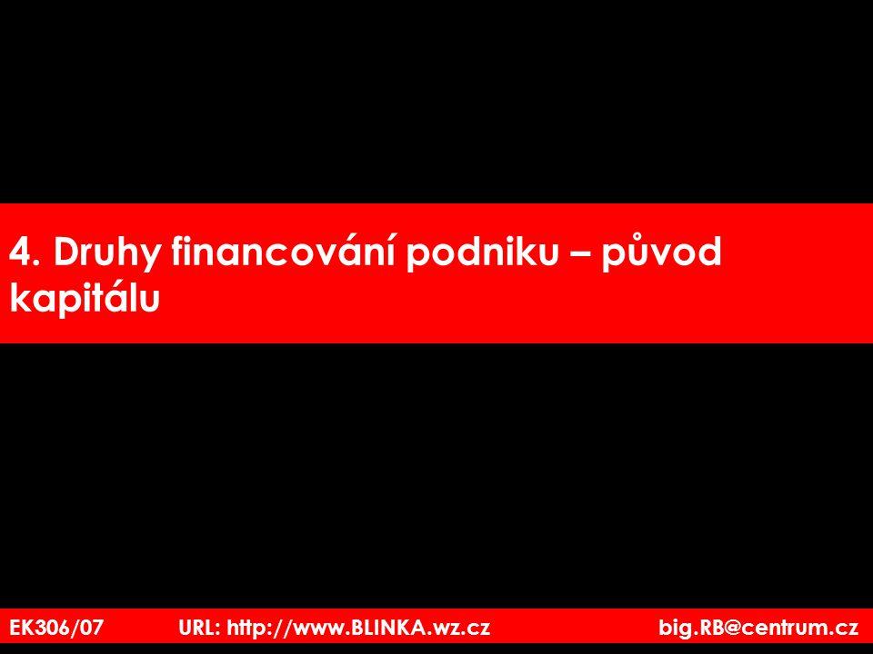 4. Druhy financování podniku – původ kapitálu EK306/07 URL: http://www.BLINKA.wz.cz big.RB@centrum.cz