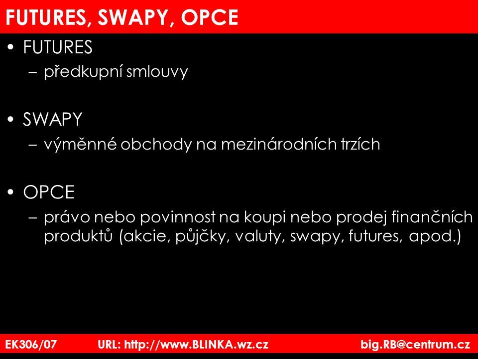FUTURES, SWAPY, OPCE FUTURES –předkupní smlouvy SWAPY –výměnné obchody na mezinárodních trzích OPCE –právo nebo povinnost na koupi nebo prodej finančn