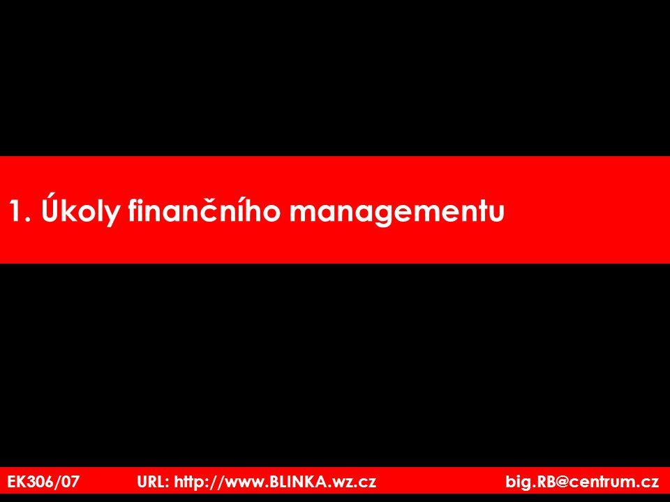 Úkoly finančního managementu 1.opatřovat kapitál 2.