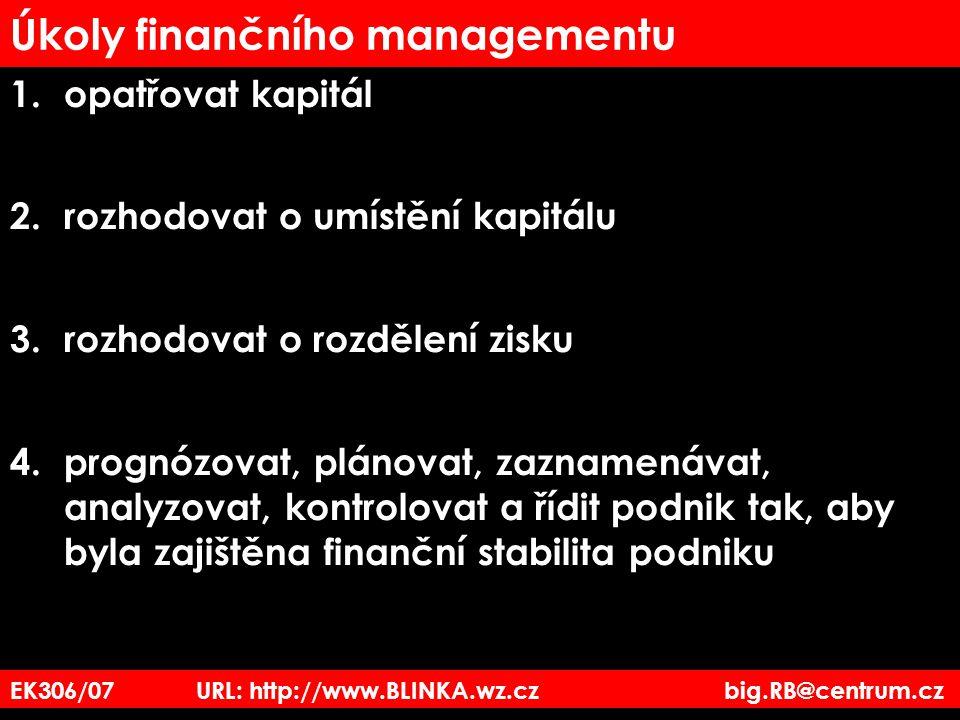 Úkoly finančního managementu 1. opatřovat kapitál 2. rozhodovat o umístění kapitálu 3.rozhodovat o rozdělení zisku 4.prognózovat, plánovat, zaznamenáv