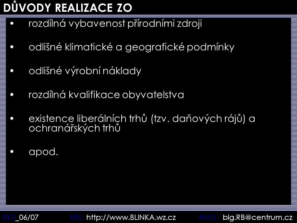 EK3 _06/07 URL: http://www.BLINKA.wz.cz MAIL: big.RB@centrum.cz DŮVODY REALIZACE ZO rozdílná vybavenost přírodními zdroji odlišné klimatické a geograf