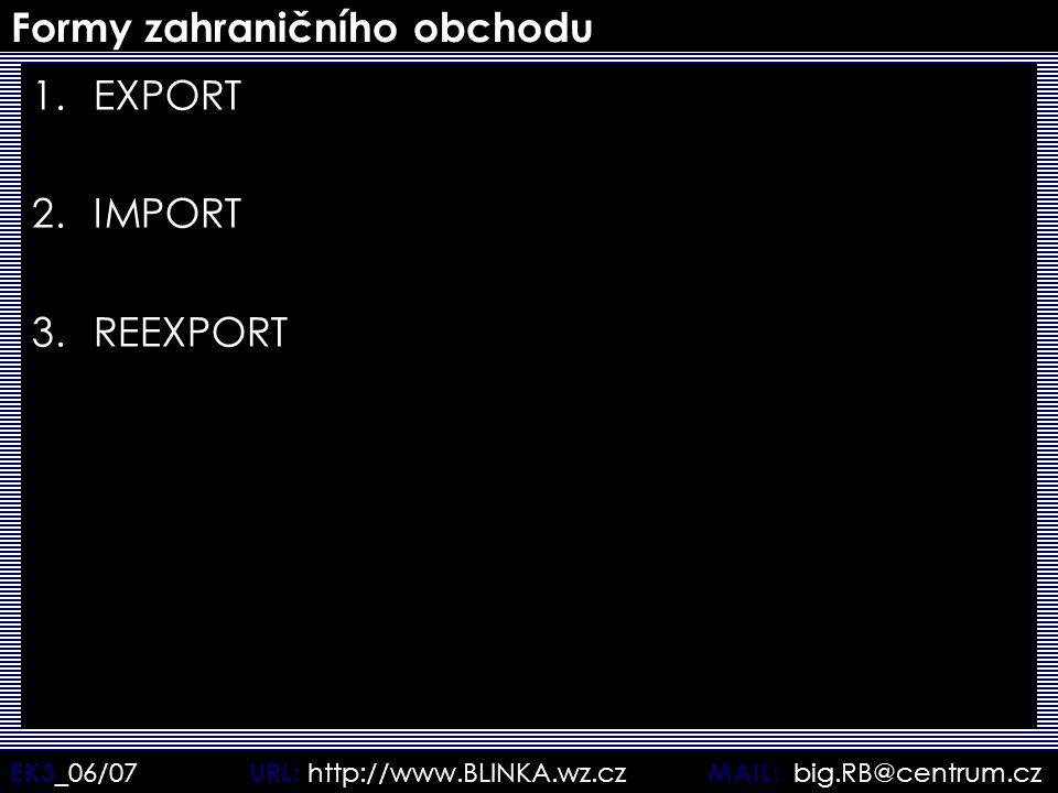 EK3 _06/07 URL: http://www.BLINKA.wz.cz MAIL: big.RB@centrum.cz Formy zahraničního obchodu 1.EXPORT 2.IMPORT 3.REEXPORT