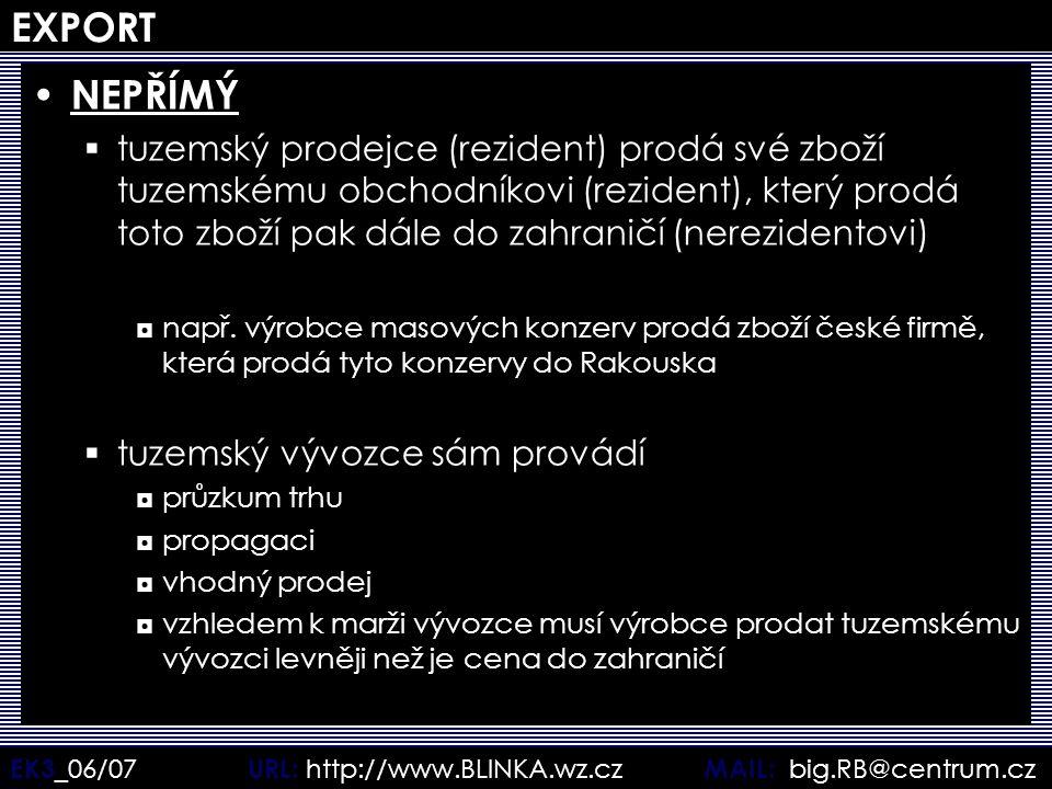 EK3 _06/07 URL: http://www.BLINKA.wz.cz MAIL: big.RB@centrum.cz EXPORT NEPŘÍMÝ  tuzemský prodejce (rezident) prodá své zboží tuzemskému obchodníkovi