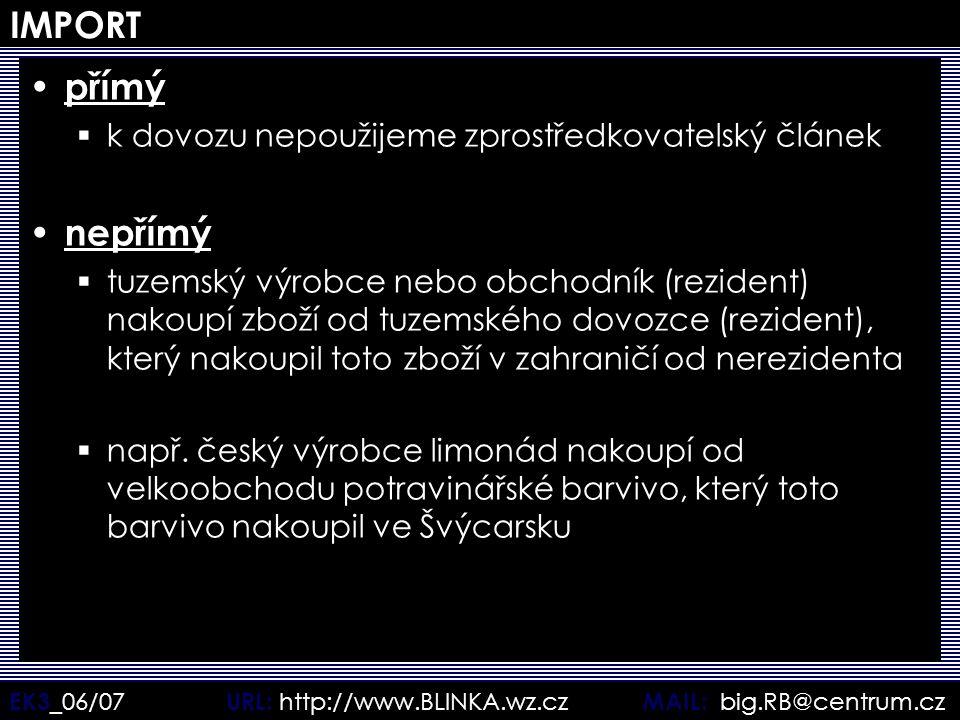 EK3 _06/07 URL: http://www.BLINKA.wz.cz MAIL: big.RB@centrum.cz IMPORT přímý  k dovozu nepoužijeme zprostředkovatelský článek nepřímý  tuzemský výro
