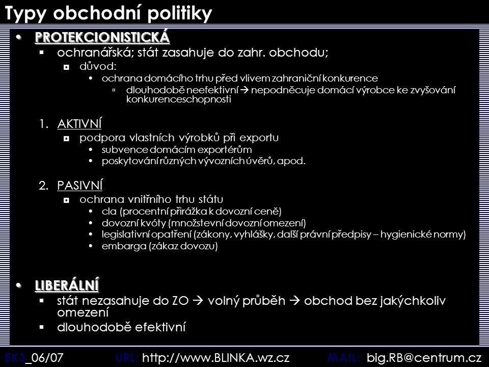 EK3 _06/07 URL: http://www.BLINKA.wz.cz MAIL: big.RB@centrum.cz Typy obchodní politiky PROTEKCIONISTICKÁ PROTEKCIONISTICKÁ  ochranářská; stát zasahuj