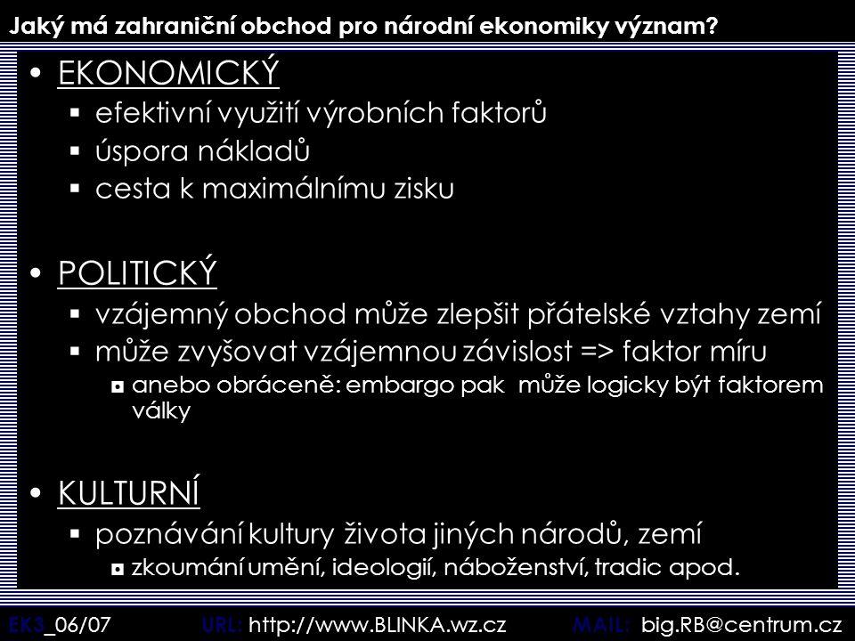 EK3 _06/07 URL: http://www.BLINKA.wz.cz MAIL: big.RB@centrum.cz Jaký má zahraniční obchod pro národní ekonomiky význam? EKONOMICKÝ  efektivní využití