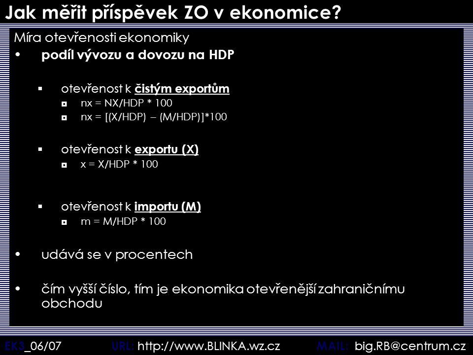 EK3 _06/07 URL: http://www.BLINKA.wz.cz MAIL: big.RB@centrum.cz Jak měřit příspěvek ZO v ekonomice? Míra otevřenosti ekonomiky podíl vývozu a dovozu n