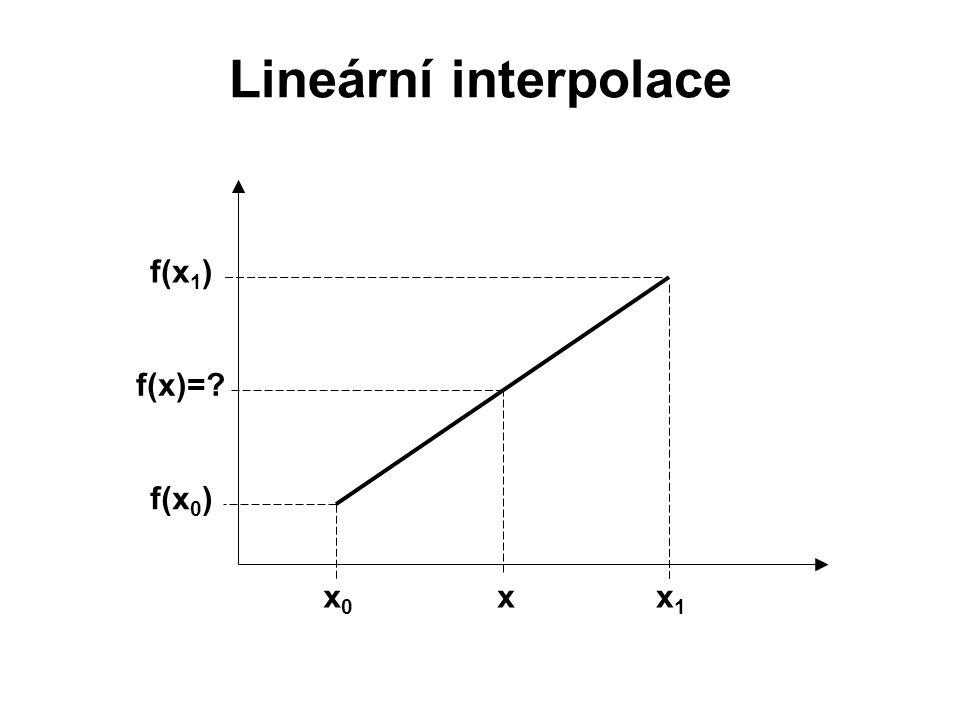 Lineární interpolace f(x 1 ) x1x1 x0x0 f(x 0 ) x f(x)=?