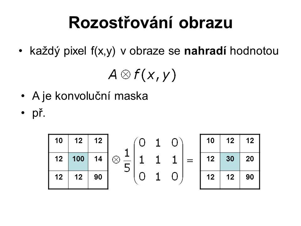 Rozostřování obrazu každý pixel f(x,y) v obraze se nahradí hodnotou A je konvoluční maska př.