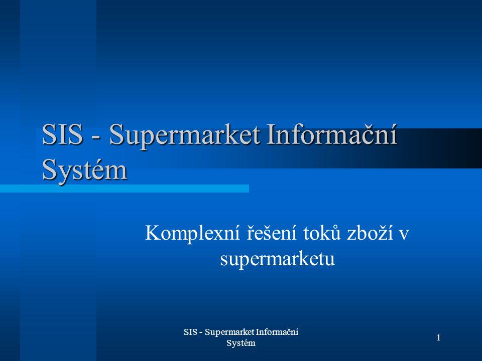 SIS - Supermarket Informační Systém 2 Informační systém supermarketu Evidence zboží Objednávky Pokladny Slevy (registrovaní zákazníci) Řešení problému expirace zboží Vracení zálohovaných lahví Internetový obchod