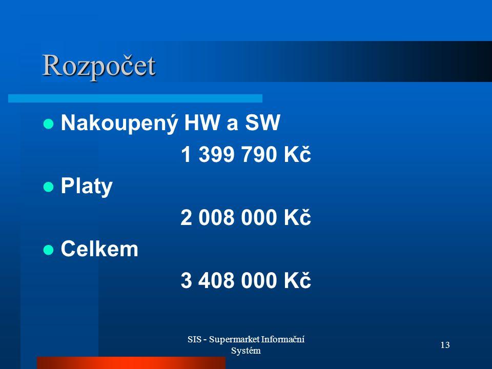 SIS - Supermarket Informační Systém 13 Rozpočet Nakoupený HW a SW 1 399 790 Kč Platy 2 008 000 Kč Celkem 3 408 000 Kč