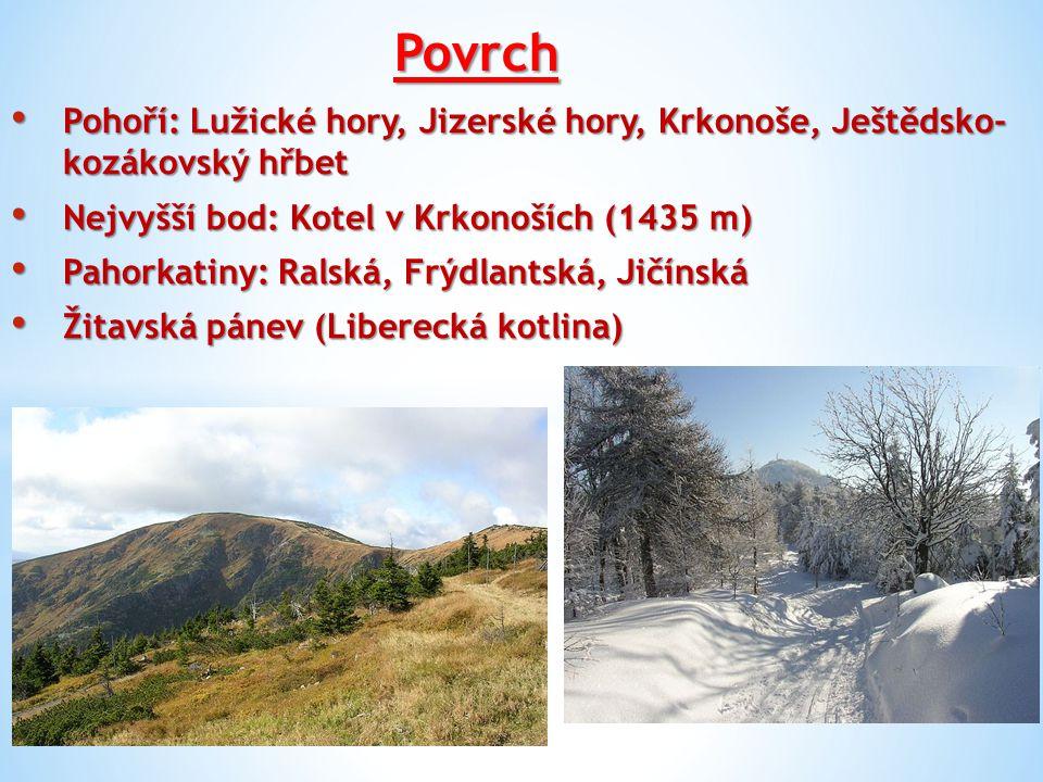 Povrch Pohoří: Lužické hory, Jizerské hory, Krkonoše, Ještědsko- kozákovský hřbet Pohoří: Lužické hory, Jizerské hory, Krkonoše, Ještědsko- kozákovský