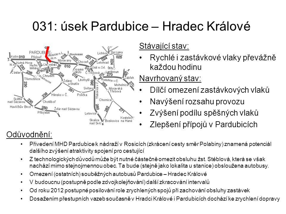 031: úsek Pardubice – Hradec Králové Odůvodnění: Přivedení MHD Pardubice k nádraží v Rosicích (zkrácení cesty směr Polabiny) znamená potenciál dalšího