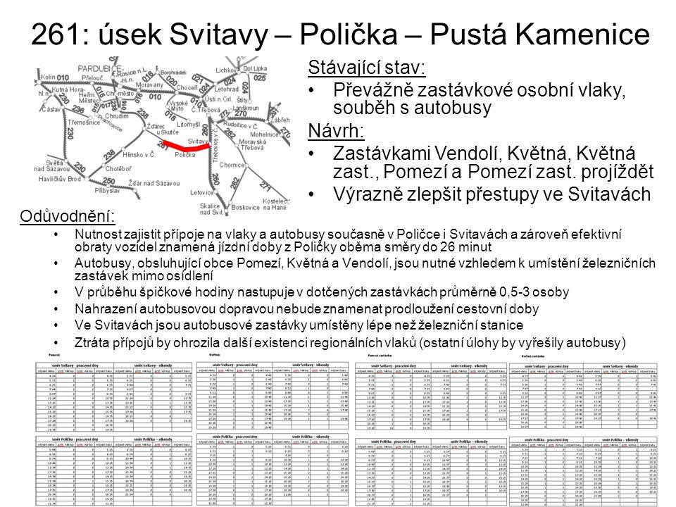 261: úsek Svitavy – Polička – Pustá Kamenice Stávající stav: Převážně zastávkové osobní vlaky, souběh s autobusy Návrh: Zastávkami Vendolí, Květná, Kv