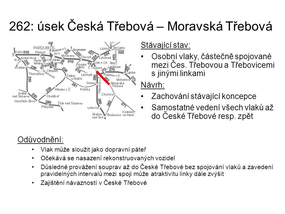 262: úsek Česká Třebová – Moravská Třebová Odůvodnění: Vlak může sloužit jako dopravní páteř Očekává se nasazení rekonstruovaných vozidel Důsledné pro