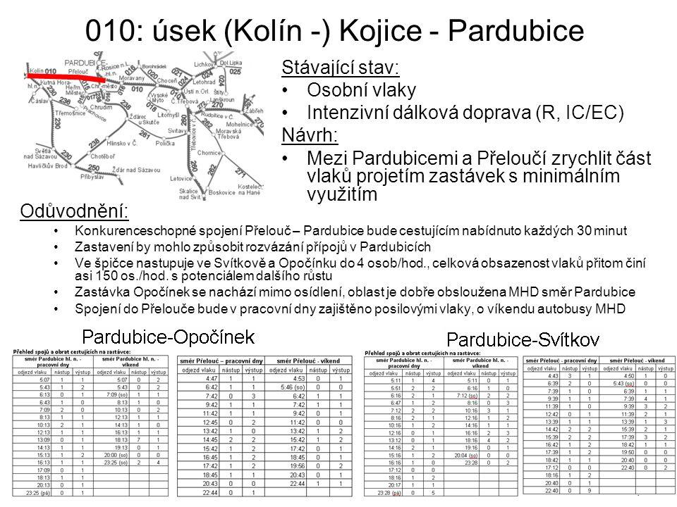 010: úsek (Kolín -) Kojice - Pardubice Odůvodnění: Konkurenceschopné spojení Přelouč – Pardubice bude cestujícím nabídnuto každých 30 minut Zastavení