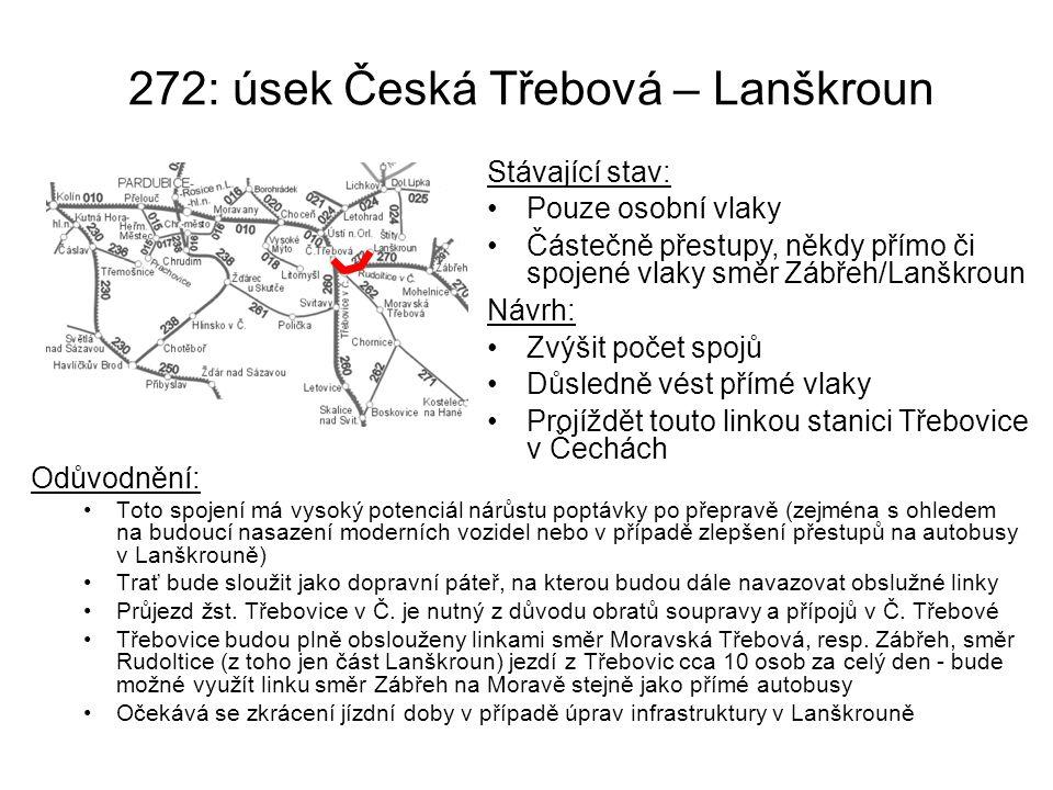 272: úsek Česká Třebová – Lanškroun Odůvodnění: Toto spojení má vysoký potenciál nárůstu poptávky po přepravě (zejména s ohledem na budoucí nasazení m