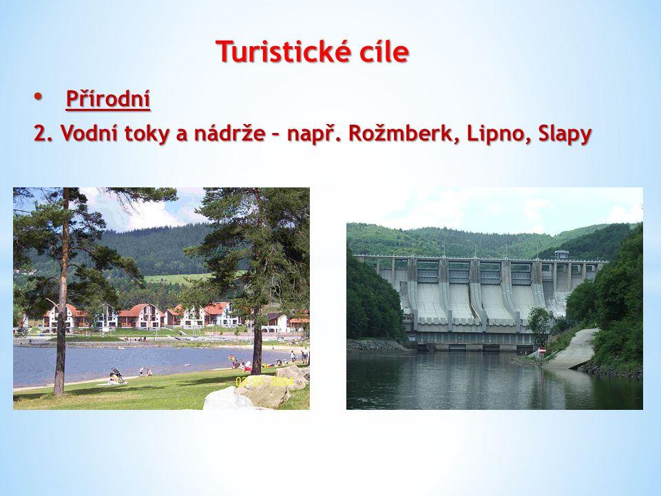 Turistické cíle Přírodní Přírodní 2. Vodní toky a nádrže – např. Rožmberk, Lipno, Slapy