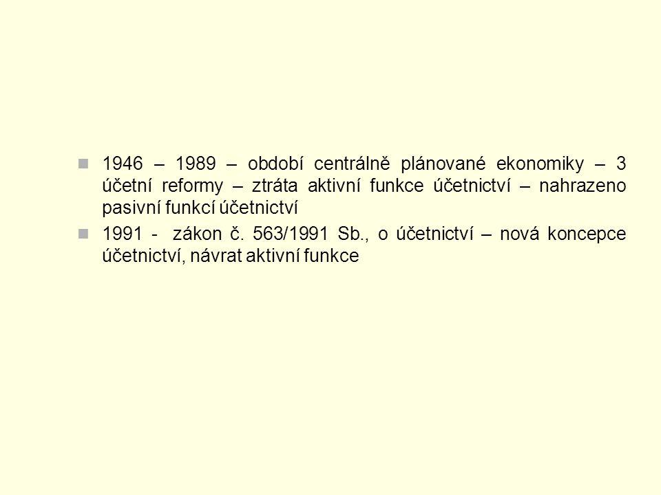 1946 – 1989 – období centrálně plánované ekonomiky – 3 účetní reformy – ztráta aktivní funkce účetnictví – nahrazeno pasivní funkcí účetnictví 1991 - zákon č.