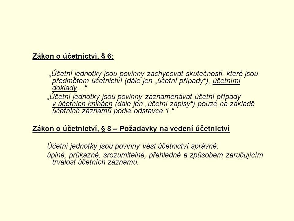 """Zákon o účetnictví, § 6: """"Účetní jednotky jsou povinny zachycovat skutečnosti, které jsou předmětem účetnictví (dále jen """"účetní případy ), účetními doklady… """"Účetní jednotky jsou povinny zaznamenávat účetní případy v účetních knihách (dále jen """"účetní zápisy ) pouze na základě účetních záznamů podle odstavce 1. Zákon o účetnictví, § 8 – Požadavky na vedení účetnictví Účetní jednotky jsou povinny vést účetnictví správné, úplné, průkazné, srozumitelné, přehledné a způsobem zaručujícím trvalost účetních záznamů."""