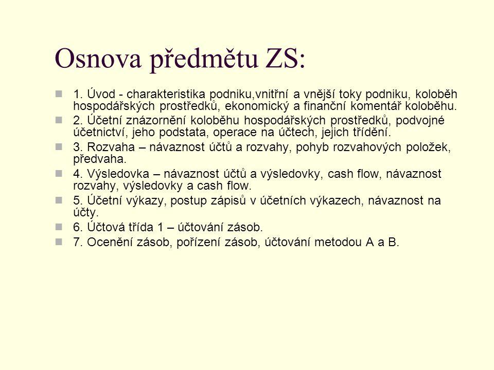 Osnova předmětu ZS: 1.