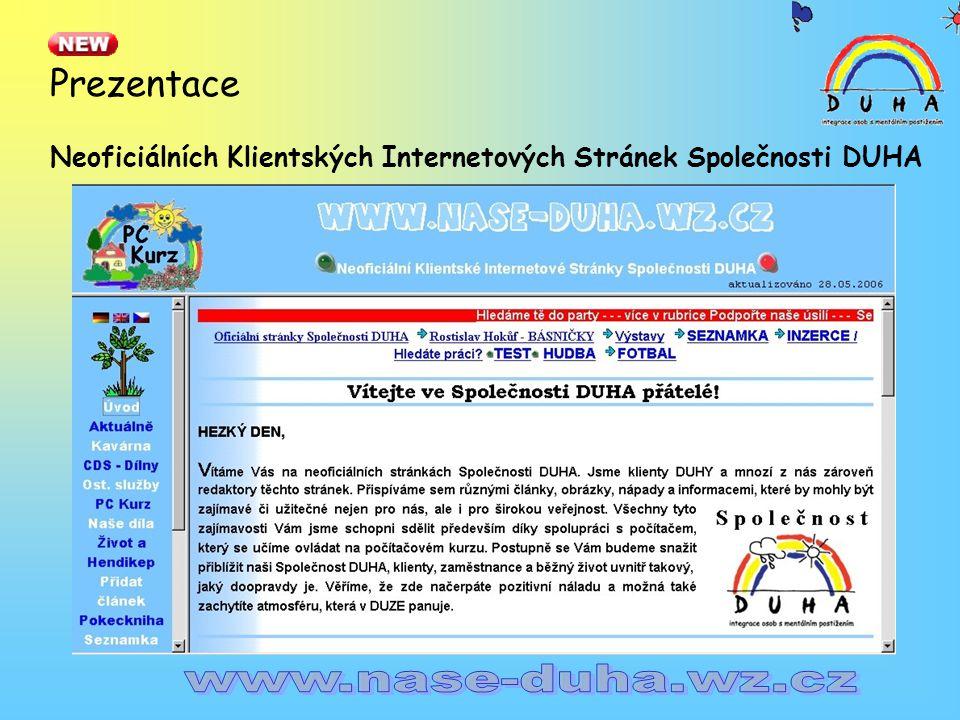 Prezentace Neoficiálních Klientských Internetových Stránek Společnosti DUHA