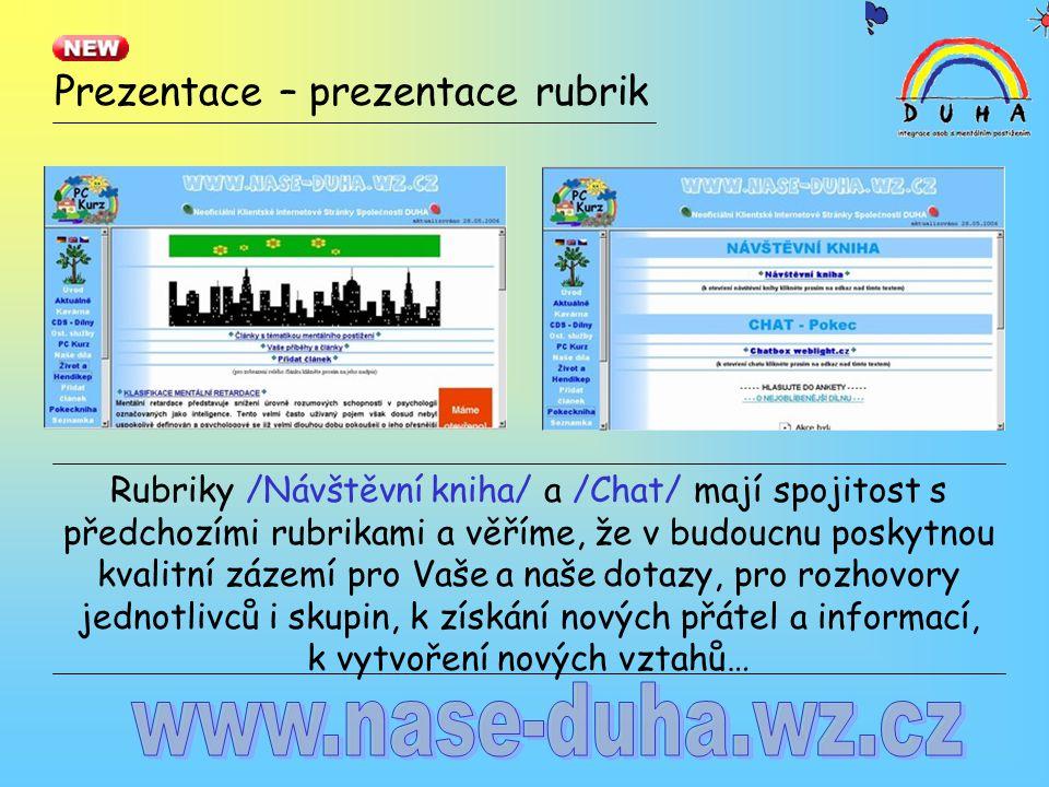 Prezentace – prezentace rubrik Rubriky /Návštěvní kniha/ a /Chat/ mají spojitost s předchozími rubrikami a věříme, že v budoucnu poskytnou kvalitní zá