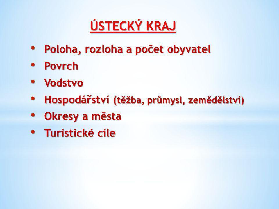 Poloha, rozloha a počet obyvatel Leží na severozápadě Čech Leží na severozápadě Čech Rozloha 5 335 km2 Rozloha 5 335 km2 Počet obyvatel 830 000 Počet obyvatel 830 000