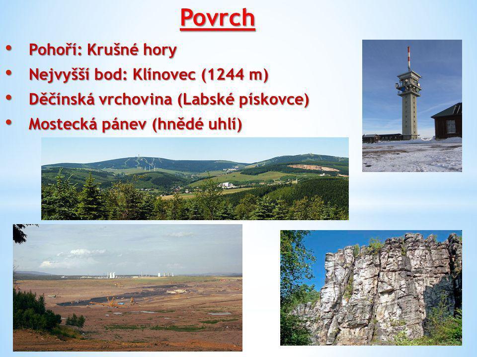 Povrch České středohoří - sopečné vrchy Milešovka (837 m), Hradišťany, Pařez, Sedlo, Lovoš, Oblík, Raná atd.