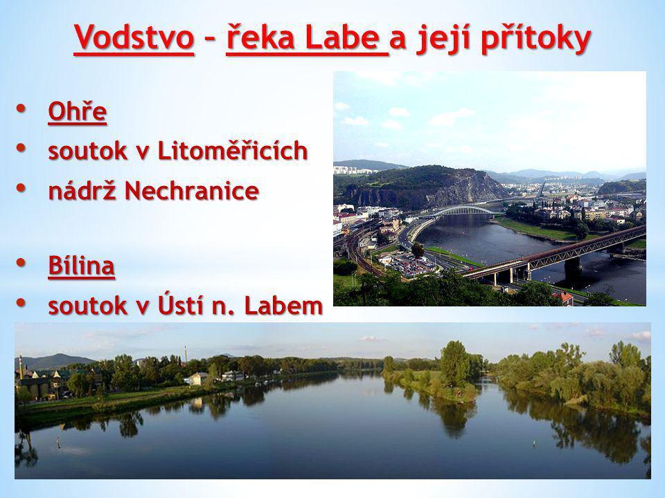 Vodstvo – řeka Labe a její přítoky Ploučnice (soutok v Děčíně) Ploučnice (soutok v Děčíně) Kamenice (soutok v Hřensku, nejnižší místo 115 m n.m.) Kamenice (soutok v Hřensku, nejnižší místo 115 m n.m.)