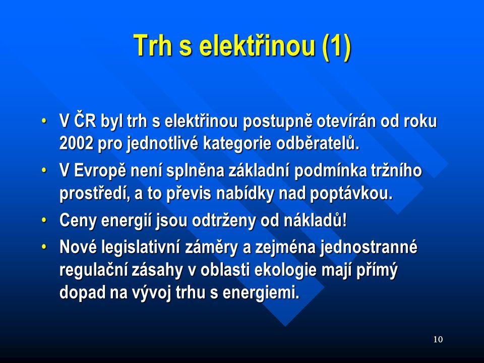 10 Trh s elektřinou (1) V ČR byl trh s elektřinou postupně otevírán od roku 2002 pro jednotlivé kategorie odběratelů.