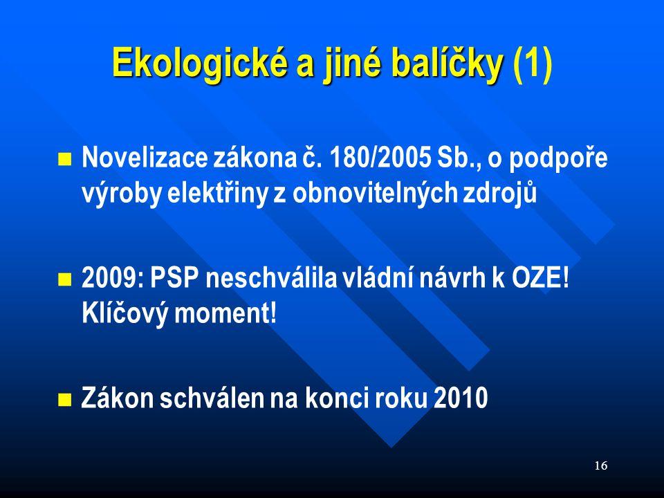 16 Ekologické a jiné balíčky Ekologické a jiné balíčky (1) Novelizace zákona č.