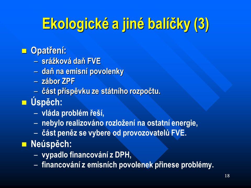 18 Ekologické a jiné balíčky (3) Opatření: Opatření: – srážková daň FVE – daň na emisní povolenky – zábor ZPF – část příspěvku ze státního rozpočtu.
